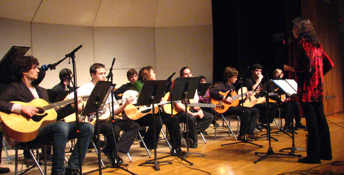 Helen directing Dutchess County Community Collage guitar consort.